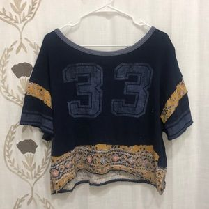 Free People Nicky Cropped Graphic Shirt Blue L